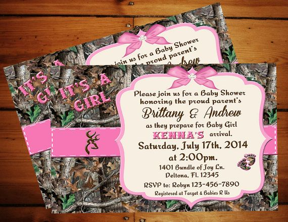 IT'S A GIRL Camo Baby Shower Invitation Etsy listing at https://www.etsy.com/listing/193855920/its-a-girl-camo-baby-shower