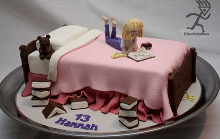 Hannah Reading on the Bed Cake by Ciccio