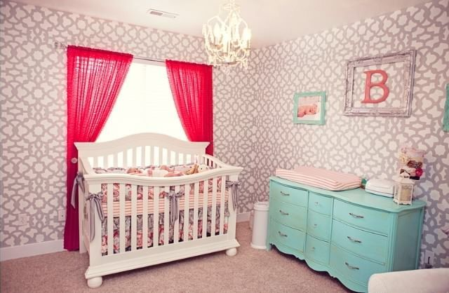 This gorgeous hand-stenciled geometric print on the nursery walls makes such an impact! #nurseryTurquoise Nurseries, Girl Nurseries, Projects Nurseries, My Baby Girls, Coral Turquoise, Nurseries Ideas, Baby Girls Nurseries, Gray Nurseries, Rooms