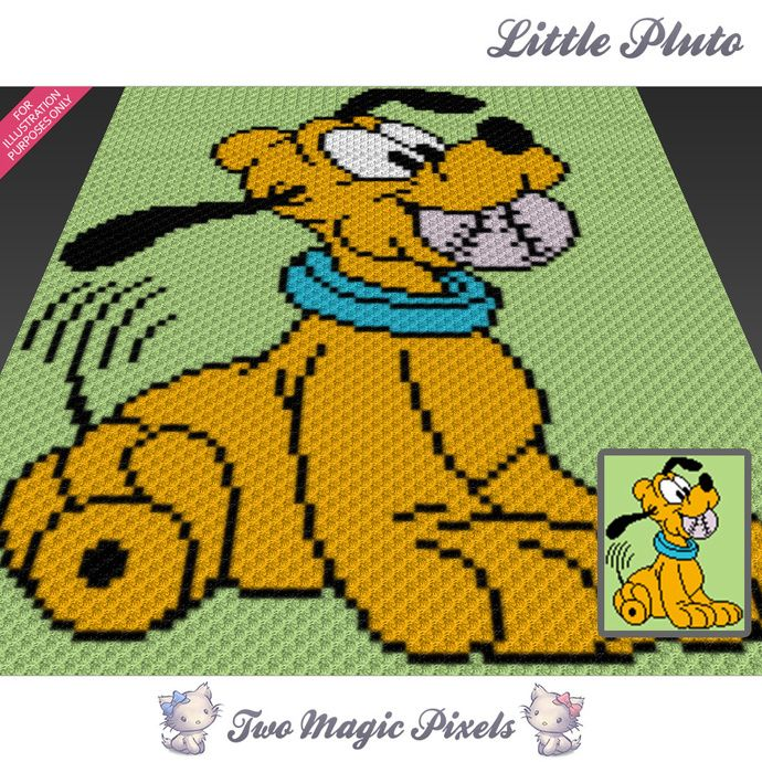 Little Pluto crochet blanket pattern; c2c, knitting, cross stitch graph; pdf download; no written counts or row-by-row instructions by TwoMagicPixels, $3.99 USD