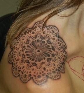 Doily tattoo. Shoulder cap doilies on Nona from Dark Dark Dark today.