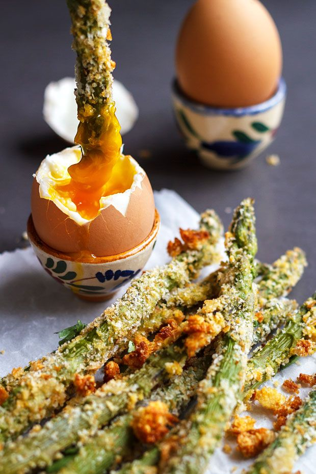 Crisp asparagus crusted with parmesan, breadcrumb and spices; and baked until golden.