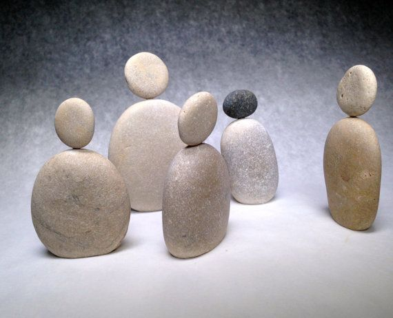 Delicate Zen Stone People made of smooth round beach stones from Lake Michigan on Etsy, $13.00