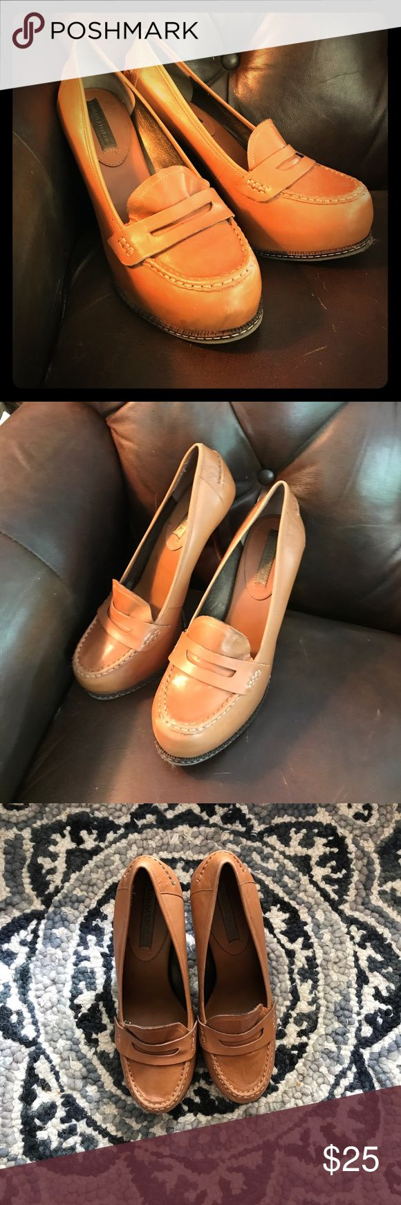 """Banana republic Leather heeled loafers Tan leather high heel loafers. High heels. At least 4"""" but there is a slight platform for comfort. Very clean. Barely worn. Banana Republic Shoes Heels"""