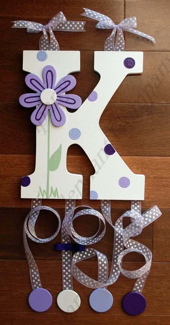 Purple Daisy Wooden Wall Letter Hair Barrette by LittleElephantCo