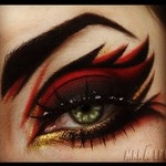 Red and black flame eye makeup - Artist unknown---omg...I drew a chart similar to this a while back! looks awesome!