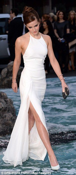 Ralph Lauren collection, one-of-a-kind white silk cady column halter evening dress with hand-pleated silk georgette panel