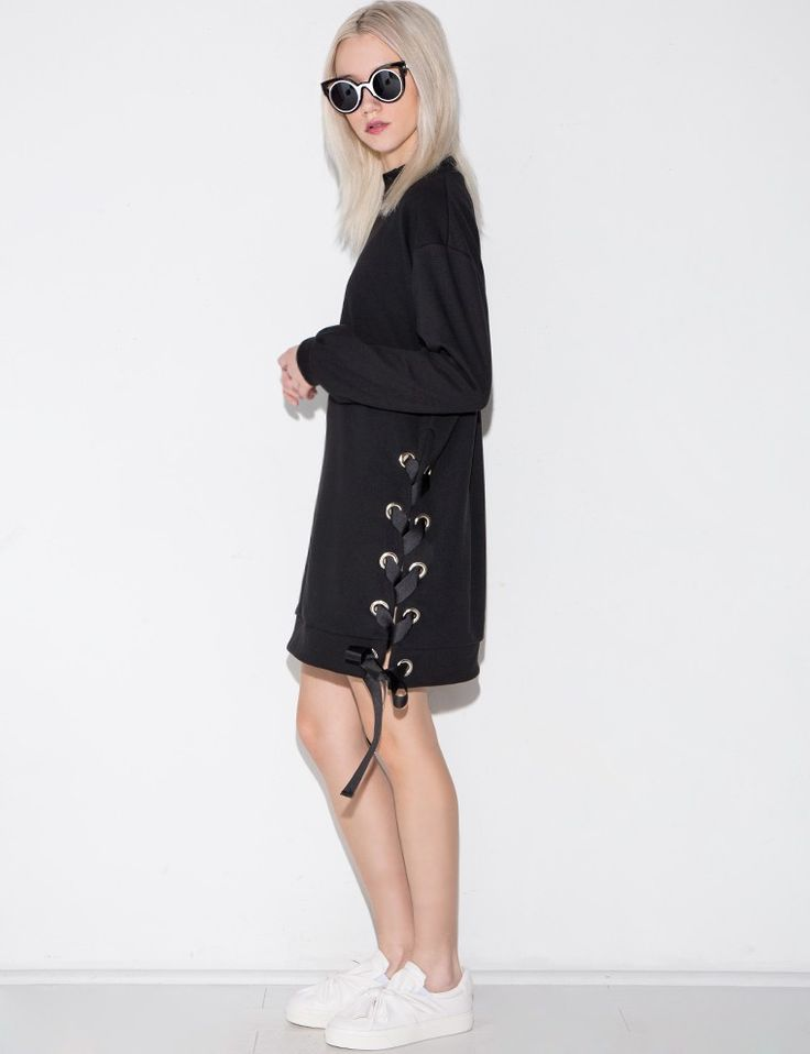Black Eyelet Lace Up Dress #fashion #pixiemarket