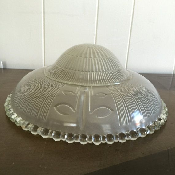 Vintage art deco style three hole / three chain hanging glass lamp shade. Frosted glass has a ribbed texture inside with three leaf motifs