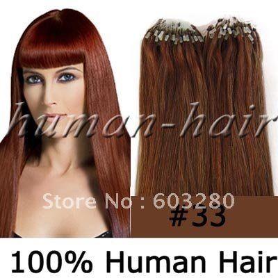 41 см / 46 см / 51 см / 56 см / 61 см микро петли / ссылки индийский выдвижение человеческих волос 40 г / 50 г / 60 г / 70 г # 33 темно-каштановый цвет 100 strands / LOT