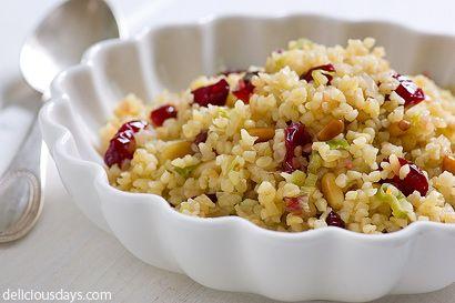 Bulgar salad with cranberries, lemon, pine nuts....