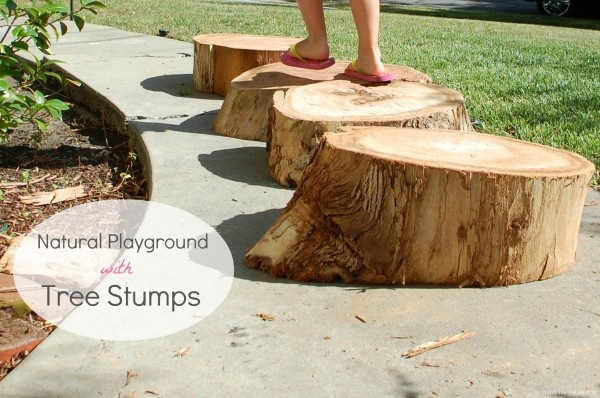 Build a natural playground with tree stumps. And links to other natural outdoor play ideas. #kids #ece #playground