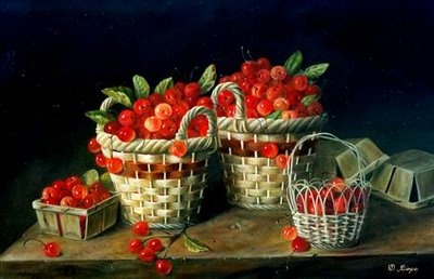 JEANNE ILLENYE - Still Lifes: classical realism oil painting baskets of cherries spilling from antique baskets farmhouse table rustic ~~~~~~~~~~http://jeanneillenye.blogspot.com/2008/09/cherry-harvest-red-cherries-spilling.html#