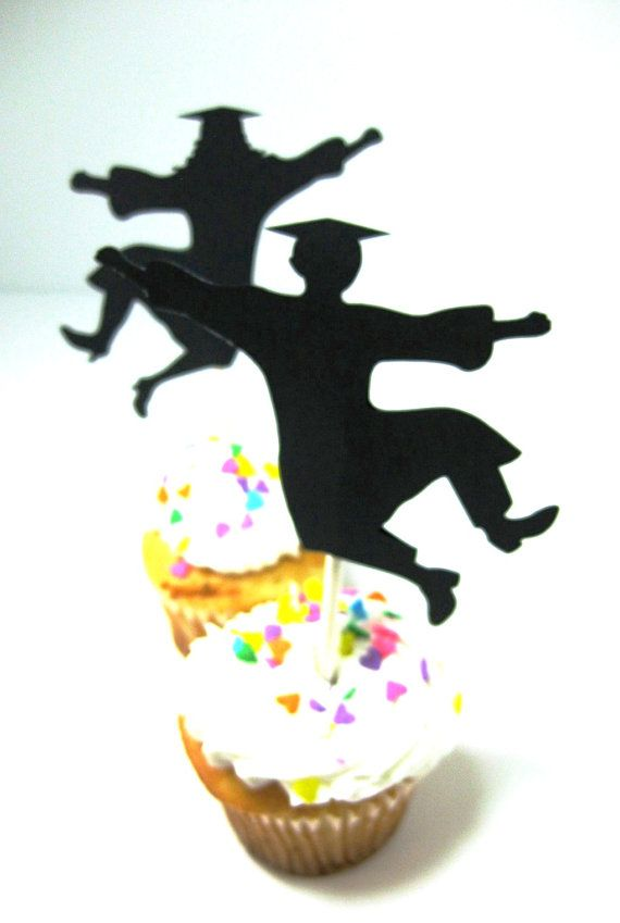 Graduation Cupcake Toppers Set of 12 Guy by QueenBeeInspirations, $12.00