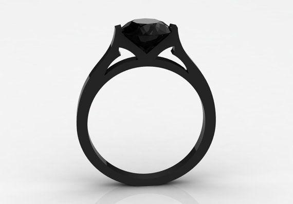 18k Black Gold Elegant and Modern Wedding or Engagement by VOLISA, $650.00