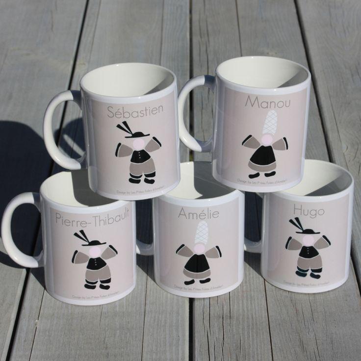 """Des mugs """"régionaux"""" à personnaliser . Rendez-vous sur le site de la boutique en ligne: www.lesptitesfoliesdamelie.fr"""