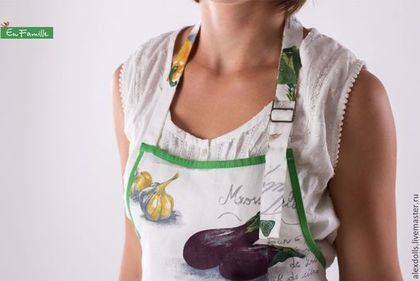 Фартучек кухонный женский - белый,зеленый,овощи,фартук,передник,кухонный фартук