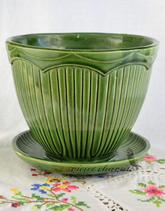 Green McCoy flower pot McCoy planter by VieuxCharmes on Etsy
