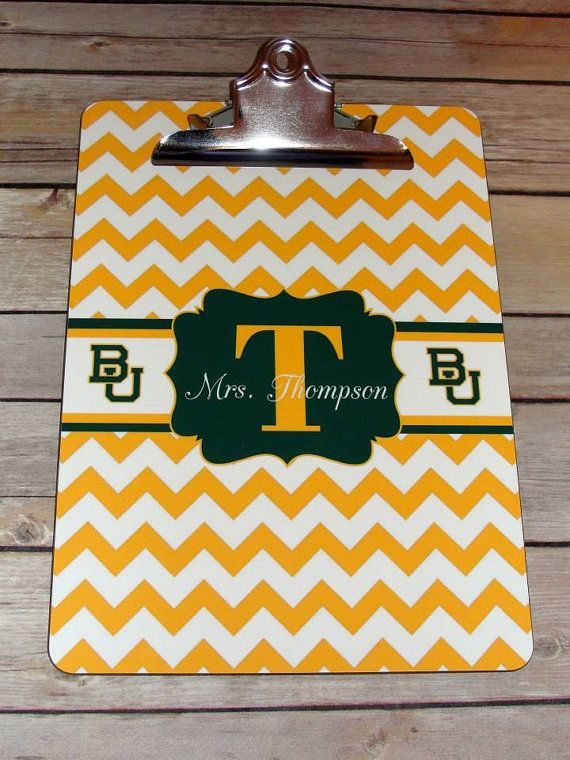 A congratulations gift for our daughter to decorate her work area and celebrate her new career as a Ph.D. Scientist.  A clip board makes a great gift for your favorite Baylor fan.