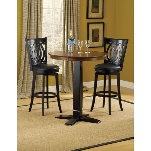 Dynamic Designs Black with Brown Cherry Pub Height Table with Four Van Draus Barstools