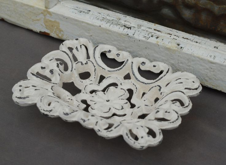 Soap Dish/ Shabby Chic Soap Dish/ Bathroom Accessory/ Business Card Holder/ Cottage Style Soap Dish/ French Country Bathroom Decor. $13.00, via Etsy.
