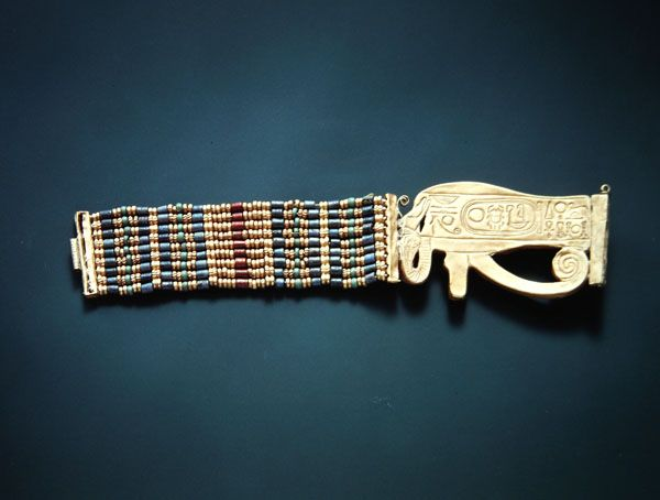 Bracelet from the Tomb of Tutankhamun, New Kingdom - (gold and carnelian with gold, faience  glass beads)