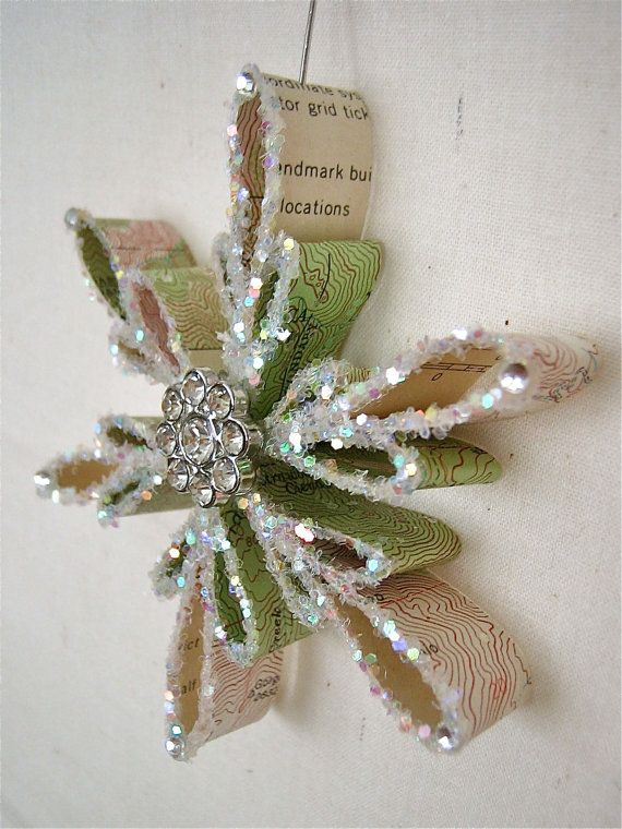 CUSTOM: Vintage Topography Map Snowflake Ornament (1940s - 1970s / Southern CA)
