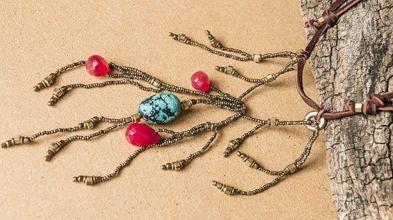 Gemstone beaded necklace/ shaman jewelry/ OOAK/ boho chic