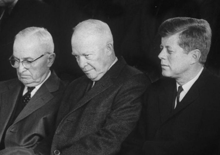 "america-runs-on-kennedy:  ""A trio of presidents: Harry Truman, Dwight Eisenhower, and John F. Kennedy.  """
