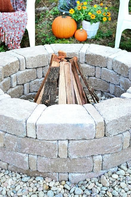 Your fire pit is complete and ready for a bonfire.