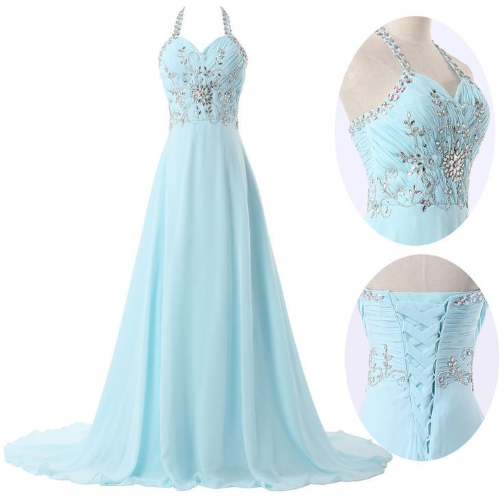 Bella baby blue halter prom dresses
