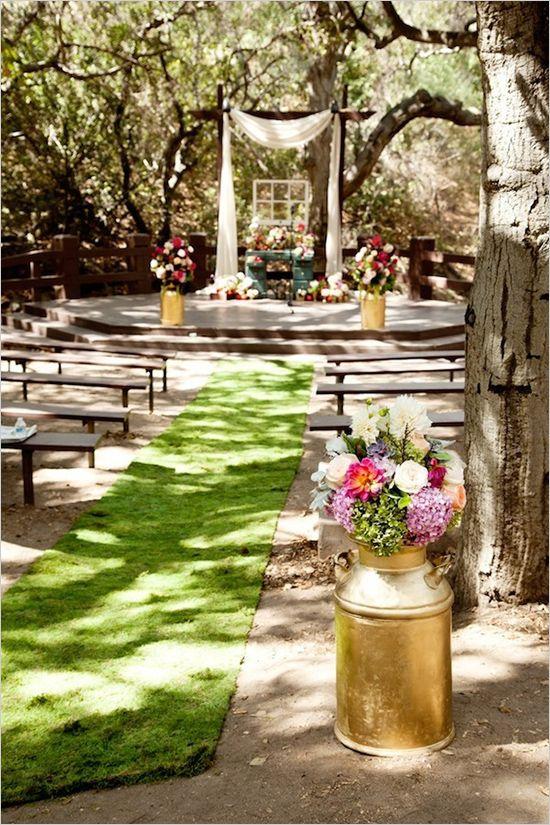 Made by Juvenia Photographer | Oak Canyon Nature Center | Rustic Wedding | Orange County | Los Angeles | Purple / Lavender Bridesmaid Dresses | Pink | Succulents | Bouquet | Outdoor Wedding | Stage Decor | Vintage Desk | Milk Cans | Gold Vases | Mason Jars