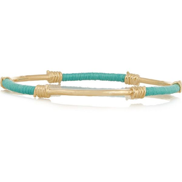 Aurélie Bidermann Gold-plated and cotton bracelet ($330) ❤ liked on Polyvore featuring jewelry, bracelets, accessories, blue, blue jewelry, stackable bracelet, gold plated jewelry, blue bracelet and stackable bangles