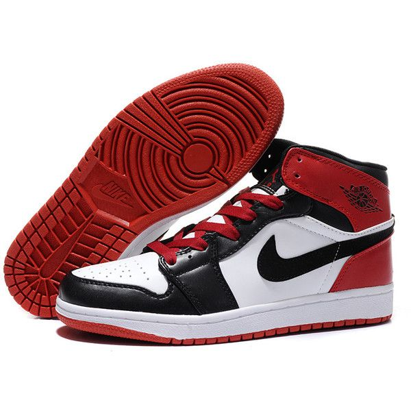 Retro Jordans- 2013 New Nike Air Jordan 1 Retro Men's Shoes White... ❤ liked on Polyvore featuring men's fashion, men's shoes, men's sneakers, black and white mens shoes, nike mens shoes, mens sneakers, mens red sneakers and nike mens sneakers