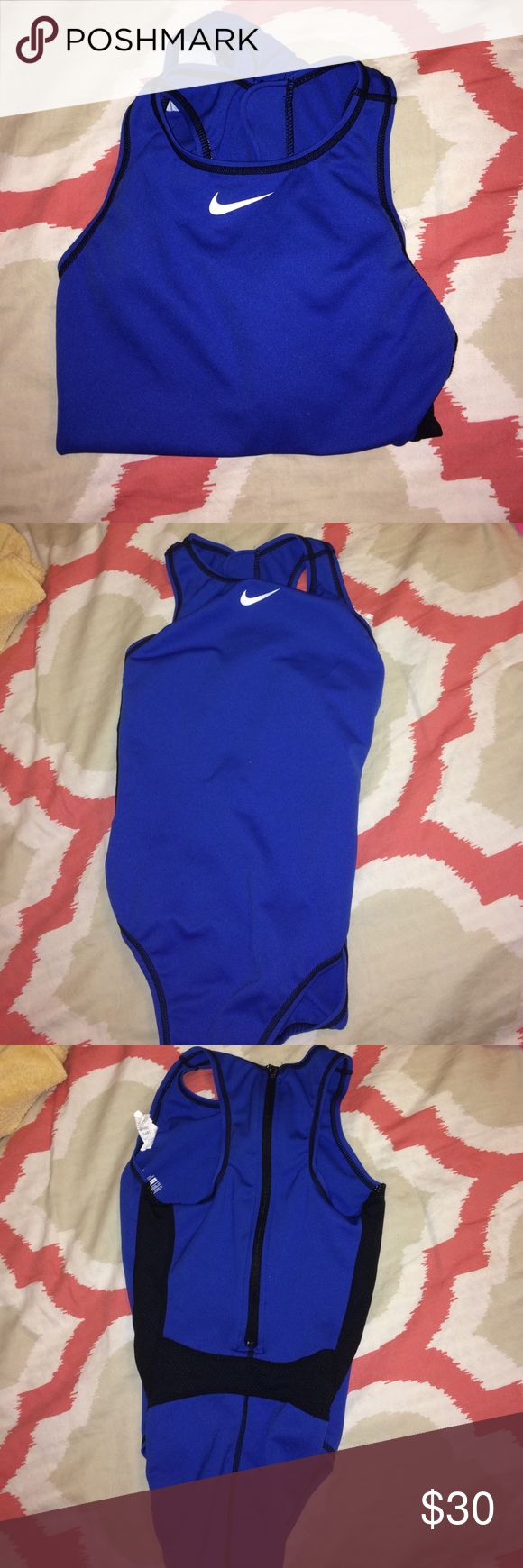 NIKE WATER POLO SUIT Royal blue water polo suit with zipper, mesh detailing, used few times 10/10 condition. PLEASE FEEL WELCOMED TO LEAVE AN OFFER ♡ Nike Swim One Pieces