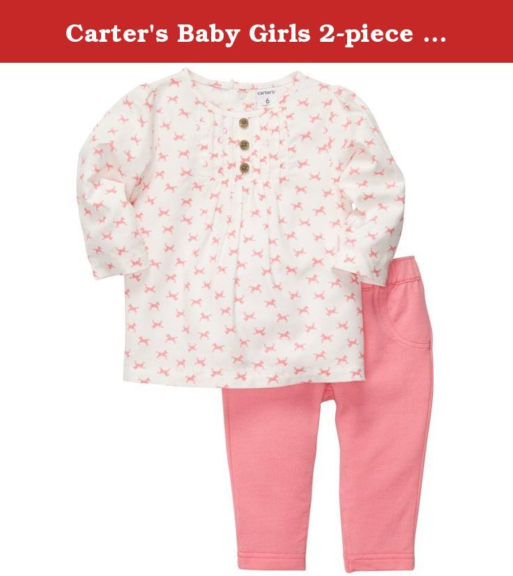 Carter's Baby Girls 2-piece Legging Set (NB-24M) (6 Months, Pink/White). She's ready to giddyup and go in this pretty pony print top and coordinating pink leggings.
