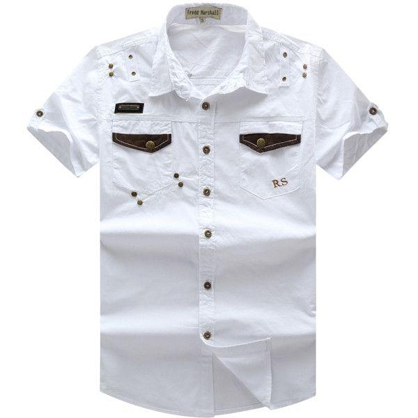 New Men Cargo Shirt Men's Fashion Shirt Short Sleeve Mens Casual Work Tops100% Cotton Solid Zipper for Man Plus Size