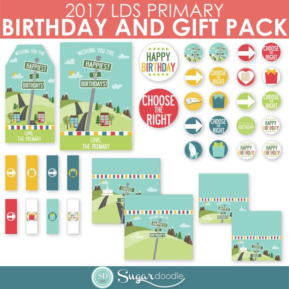 This 2017 LDS Primary Birthday and Gift Printable Kit has EVERYTHING you need for birthdays or gifts for your primary children or teachers! Great to use as thank you gifts to teachers and substitutes! Included in this Kit:  Happy Birthday Tag Happy Birthday Card Circles Variety of Birthday and Choose the Right Designs Candy Bar Wrapper Treat Bag Topper