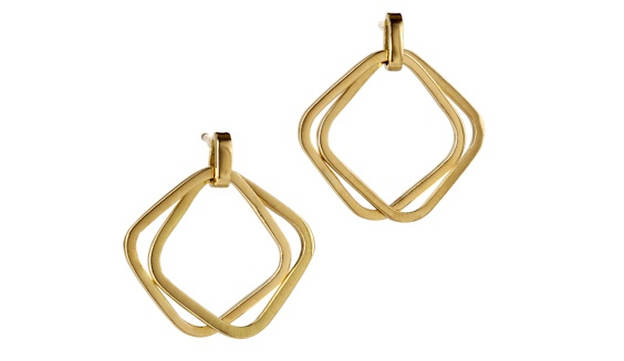 Handmade 18ct yellow gold double square earring studs