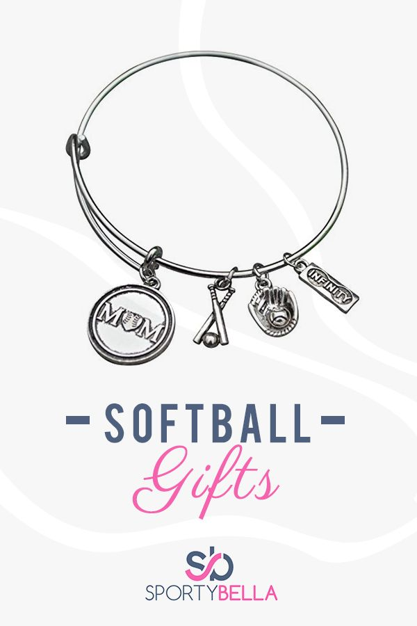 This Sportybella Softball Mom  Bangle Bracelet Jewelry  is a beautiful and fun way to express your love of Softball. This makes a Perfect gift for Softball Moms .