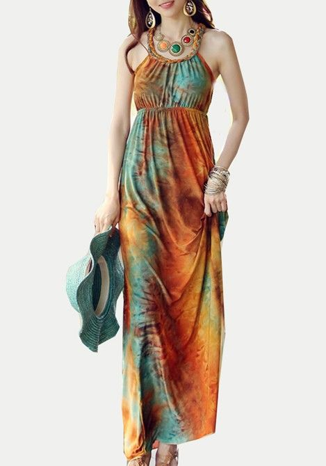 Love Love LOVE this Dress! Gorgeous Colors! Boho Chic Fashion! Hat + Tie Dye Maxi Dress + Statement Jewelry! Love these colors! Multicolor Floral Round Neck Ankle Straight Cotton Dress #Boho #Chic #Tie_Dye #Maxi_Dress #Fashion #Style