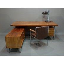 Bureau de ministre en palissandre au design scandinave marron #bureau #ministre #palissandre #vintage #élégant #imposant #modulable #marron