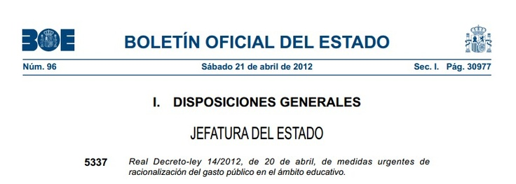 Publicado el RDL de medidas urgentes de racionalización del gasto público en el ámbito educativo (20 abril)