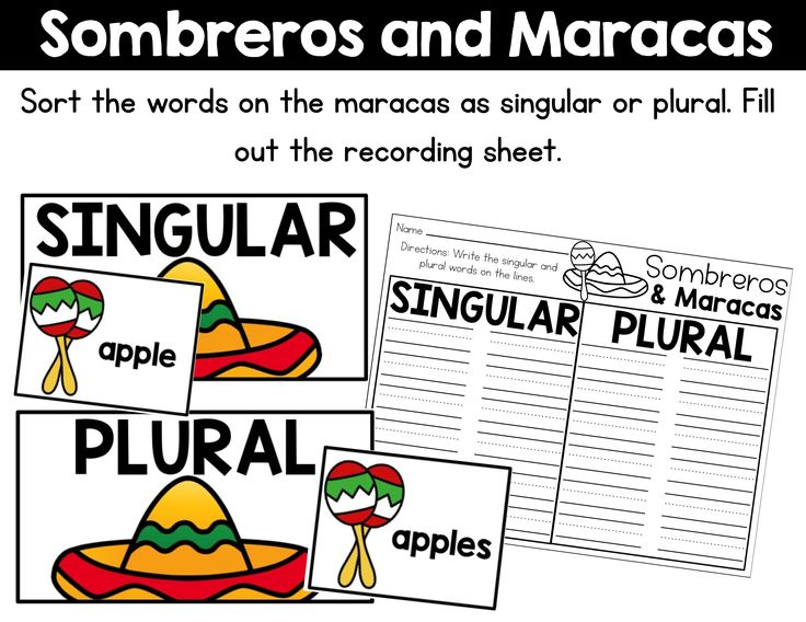 Practice sorting singular and plural nouns with this Cinco De Mayo themed literacy center!