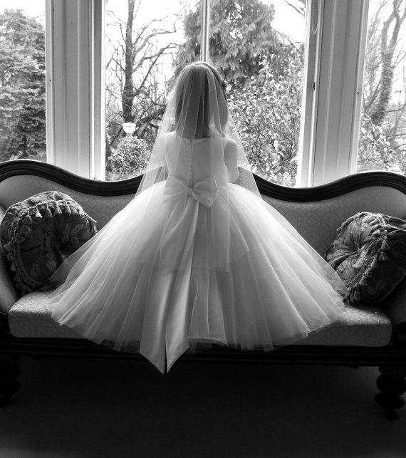 Vintage style first communion veil -  English net first communion veil - Innocent