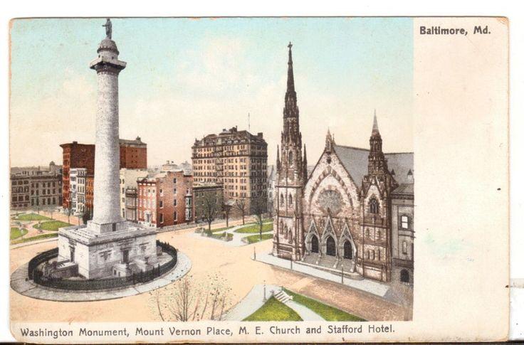 Undated Unused Postcard Washington Monument Mount Vernon Place ME Church and Stafford Hotel Baltimore MD - Advintage Plus