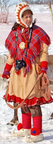 Sami costume from Karasjok - lovely bright colors in the snow