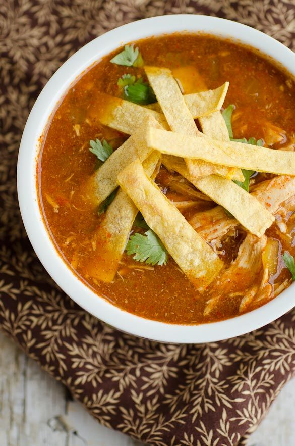 Slow Cooker Chicken Tortilla Soup   Seeded at the Table