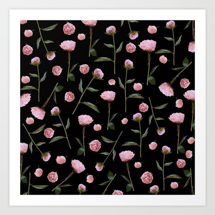 Buy Peonies on Black Art Print by lisaargyropoulos. Worldwide shipping available at Society6.com. Just one of millions of high quality products available.