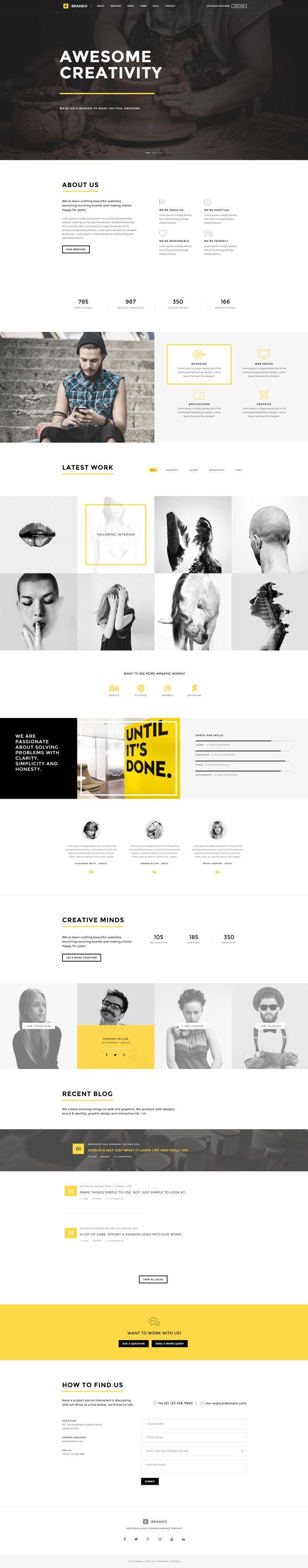 Brando #Responsive & #Multipurpose #OnePage #Template For #Agency by #ThemeZaa http://goo.gl/VGP5GC